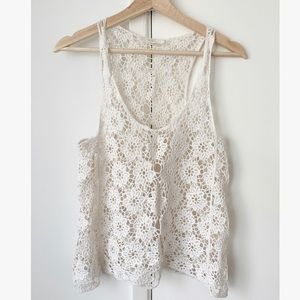 Iris Los Angeles Lace white tank top Size S/M
